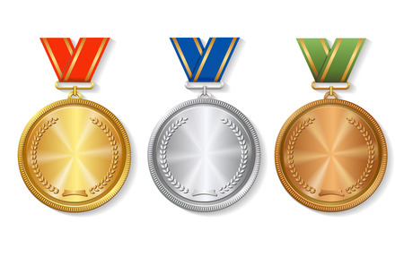 Sada zlatých, stříbrných a bronzových ocenění medailí nastavena na bílém pozadí