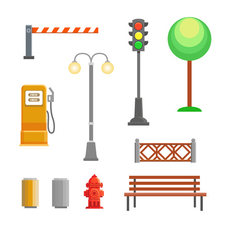 streetlights: Vector street element icons set. Bench, hydrant and trafficlights, streetlights with fence, barrier, gas station