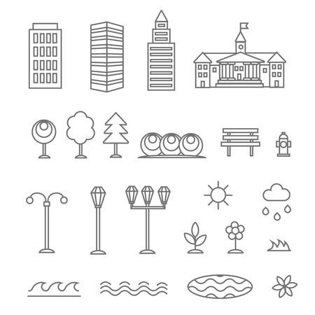 Linear landscape elements vector icons set. Line buildings trees, flowers,  plant and bench.  Design set graphic