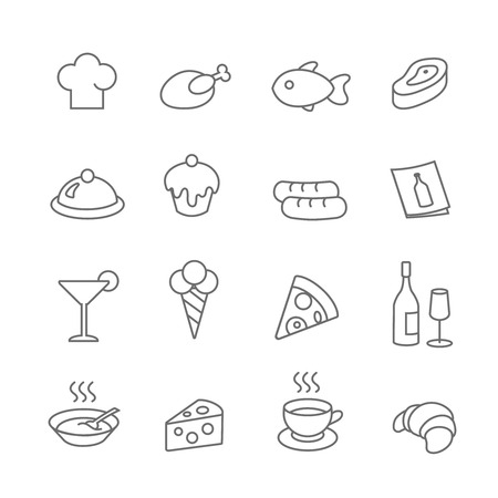 wine and food: Restaurant line icons vector set. Pizza and ice cream, cupcake or  fish, wine, food illustration