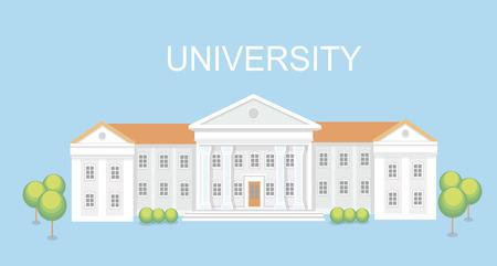 university campus: University or college building. Campus design, graduation university,   school vector illustration