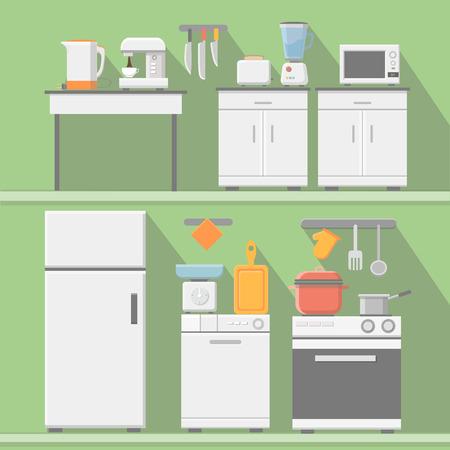 Appartement vecteur cuisine avec des ustensiles de cuisine, du matériel et du mobilier. Réfrigérateur et micro-ondes, grille-pain et cuisinière, illustration mélangeur