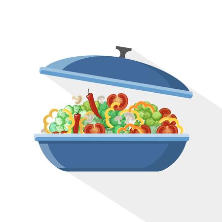 food preparation: Cooking pan saucepan kitchen food preparation illustration object pot vector cook. Illustration