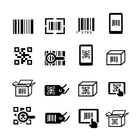 QR code and Bar code icons set. Scan coding, sticker identification. Vector illustration