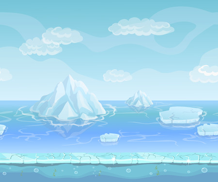 berg: Cartoon winter landscape with iceberg and ice, snow sky. Seamless vector nature background for UI games. Iceland and berg, north polar environment illustration