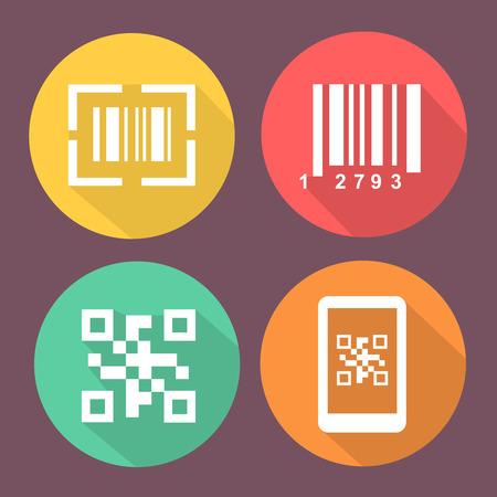 バーと Qr コード アイコン。 バーコードがスキャンでスマート フォンのシンボル。サークル アイコンでフラットな色ボタン。