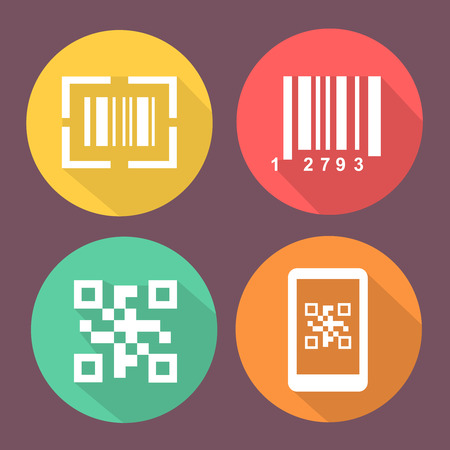 Bar and Qr code icons.  Smartphone symbols with Scan barcode. Circle flat colored buttons with icon. Ilustração
