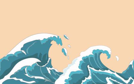 olas de mar: gran ola del océano fisuras en el estilo japonés. salpicaduras de agua, tormenta, la naturaleza del tiempo. Mano vector dibujado
