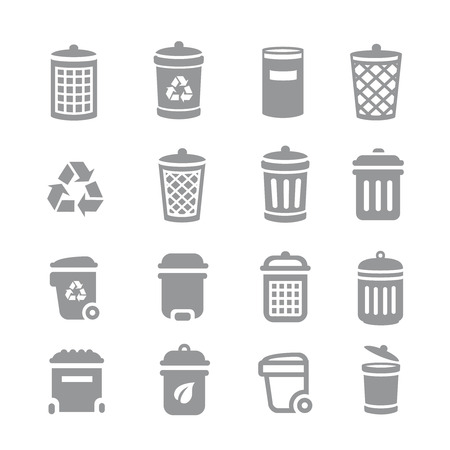 trashing: Trash can and recycle bin icons. Garbage and rubbish, clean and waste, dustbin  basket Vector