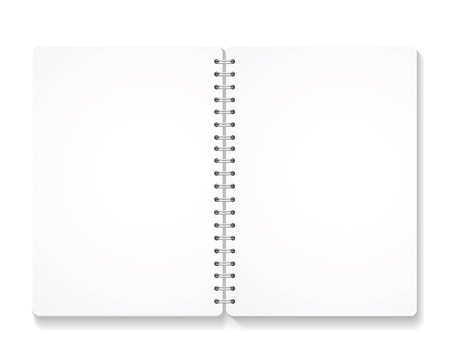 spiral notebook: blank realistic spiral notebook with opened pages.  isolated on white