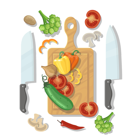 chopping: Cutting board and vegetables Cooking card poster with tomatoes pepper onion broccoli and knife vector