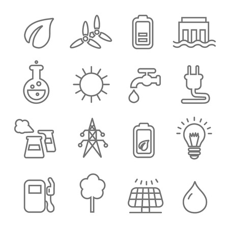 green power: Ecology line Icons wind nuclear and solar power or renewable green energy vector