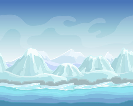 antarctic: Cartoon winter landscape with snow mountains Seamless vector nature background for games. polar  environment illustration