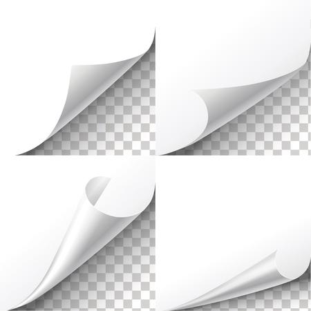 Curl paper corners vector set on transparent background. Sheet sticker,  flip edges, message blank label illustration