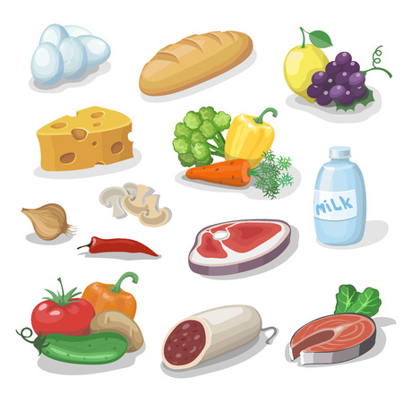 一般的な日常の食料品。漫画のアイコン セット提供、チーズ、魚、ソーセージ、野菜、ミルク、パンのベクトル図