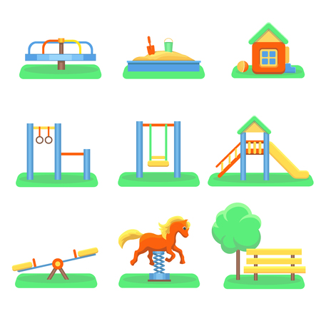 kindergarden: Kids playground set. Icons with kids swings and objects. Slide and kindergarden sandbox carousel vector illustration.