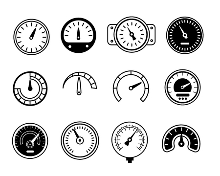 ammeter: Meter icons. Symbols of speedometers, manometers, tachometers etc. Linear vector illustration Illustration