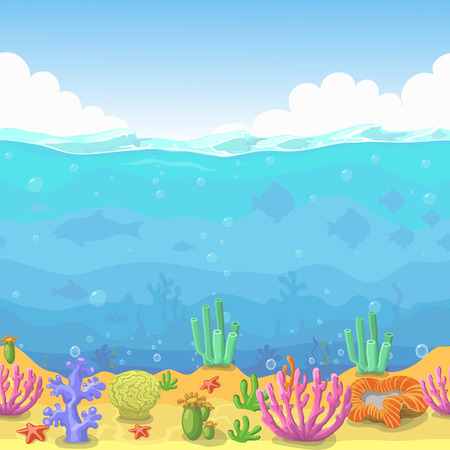 Seamless underwater landscape in cartoon style. fish and coral. Vector illustration for game design