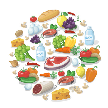 cartoon ham: Common everyday food products background. Cheese and fish, sausagesand milk, tomatoes vector  illustration