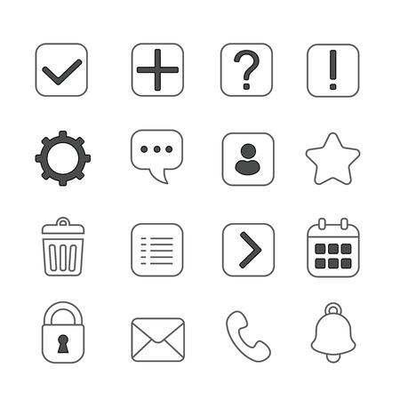 notification: Notification and information linear icons set. Question mark, exclamation and message, help and  settings
