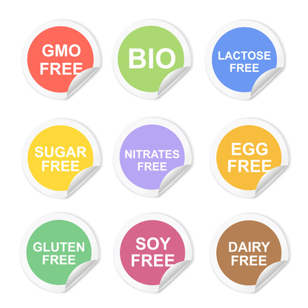 lactose: Vector food dietary labels icon set. Gluten and sugar, gmo free, nitrates and lactose,  dairy and egg