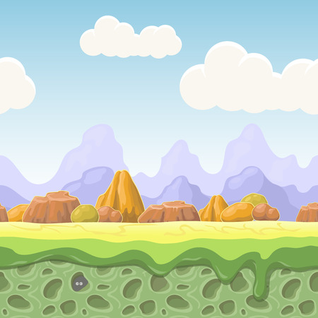 green backgrounds: Cartoon fairy tale landscape. Stones seamless  illustration for game design. Horizontal  country  background Illustration