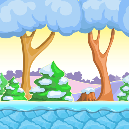 snow trees: Seamless cartoon winter landscape, vector with  snow trees, mountains,  ice and sky layers.