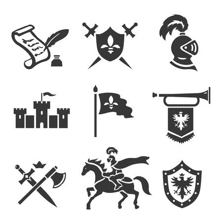 castello medievale: Cavaliere di storia medievale vettore impostare le icone. Medioevo guerriero armi. Spada, scudo e il castello