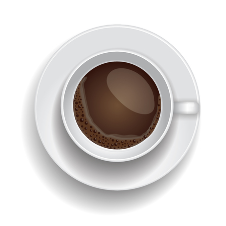vigor: Coffee cup isolated. Realistic Top  view vector