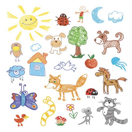 gusano caricatura: Childrens dibujo animales del doodle. Unicornio y ovejas, tortugas y morsas, perro y caracol, de canguro y de ballenas, vaca y la serpiente, ilustración vectorial Vectores