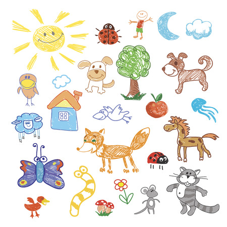 cartoon worm: Childrens drawing doodle animals. Unicorn and sheep, turtle and walrus, dog and snail, kangaroo and whale, cow and snake, vector illustration