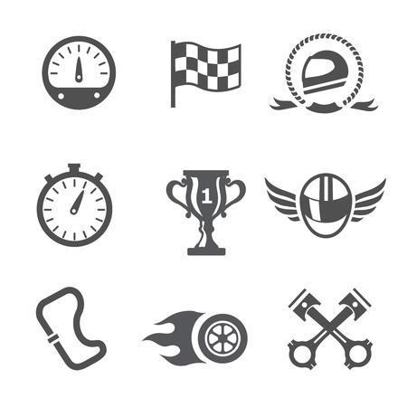 finish flag: Race icons set Speedometer, helmet and cup, winning finish, flag and speed competition,  vector Illustration