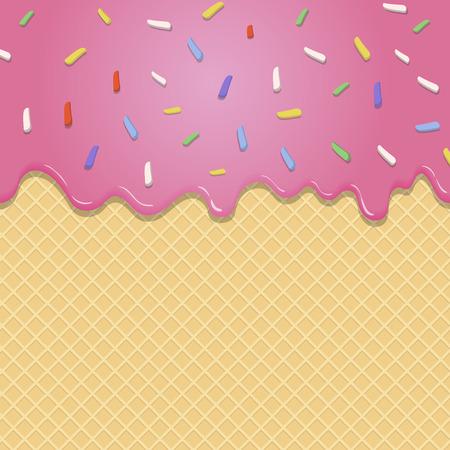 ウェーハ テクスチャのシームレスなベクトルの背景にピンクの釉薬の流れ
