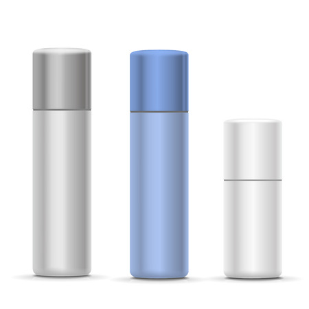 hairspray: White and silver Bottles of aerosol spray, metal bottle for cosmetic, perfume or hairspray.  Deodorant packing Illustration