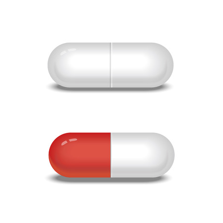 white pills: White and red pills or capsules.  Vector illustration