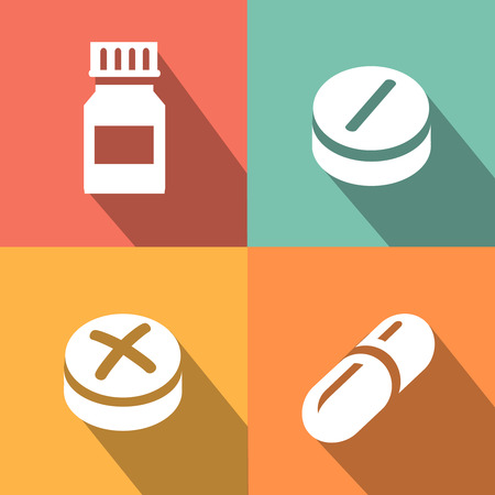 pilule: Medicine vector icon pills or tablets, capsules flat style. Vectores