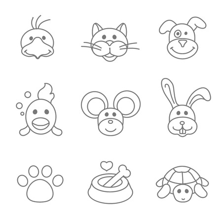turtles love: Pets related icon set in thin line  style. Mouse and fish, food for pet, kennel and bone, parrot and dog outline illustration