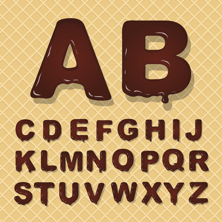 Vector latin capital alphabet made of chocolate.  Font style.