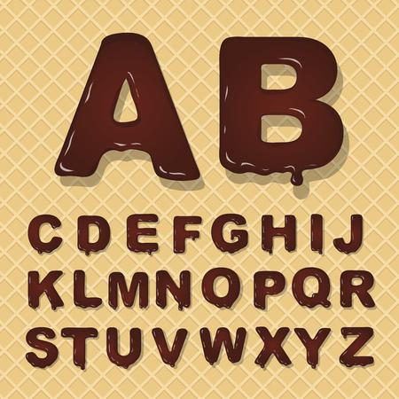 Vector latin hoofdstad alfabet gemaakt van chocolade. Lettertype.