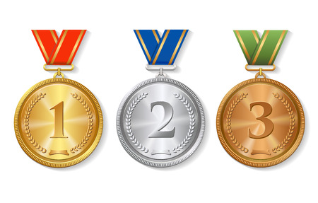 medal: Vector Award  gold, silver and bronze Medals Set  isolated