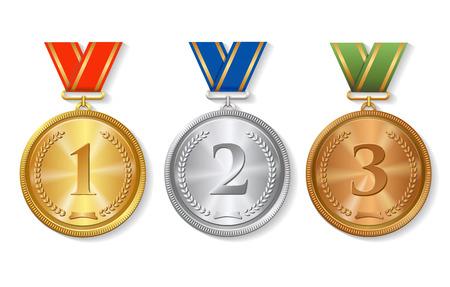 Vector Award Złoty, srebrny i brązowy Medale Zestaw izolowane