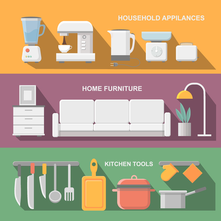 modern kitchen: Concept of modern kitchen. Flat horizontal banners with kitchen utensils, electric  cooker, refrigerator, kitchen furniture, washing, interior. Illustration