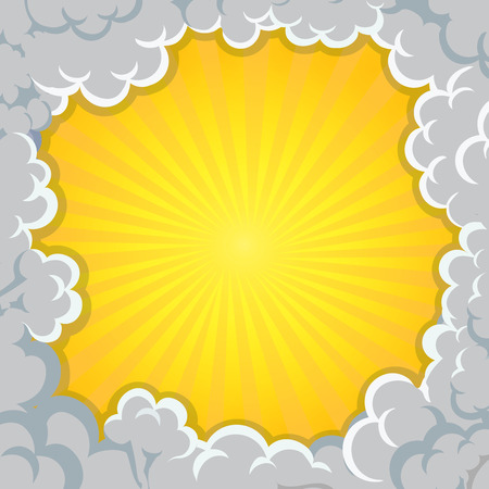 Cloud explosion yellow background Pop-Art Style - comic book style.