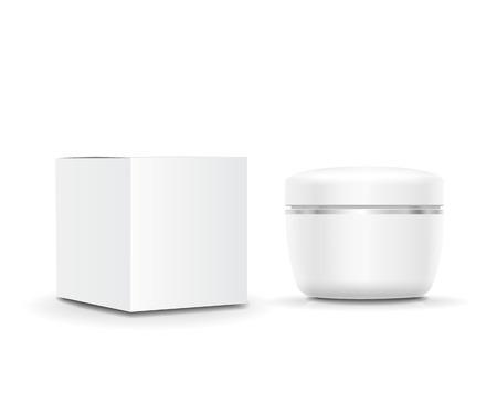 Blanca en blanco crema cosmética contenedor de crema y caja de embalaje