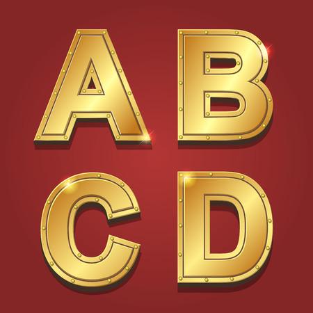 letras de oro: Letras de oro alfabeto de estilo de fuente