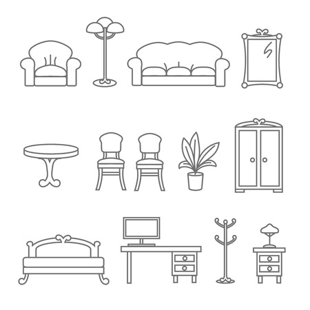 futurist: Flat Line Icons For Furniture Icons Illustration. Bed and armchair, floor lamp, flower and wardrobe Illustration