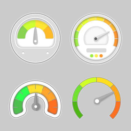 rpm: Gauge meter element. Speed meter icon or sign with arrow. Dashboard indicate, panel  indicator.
