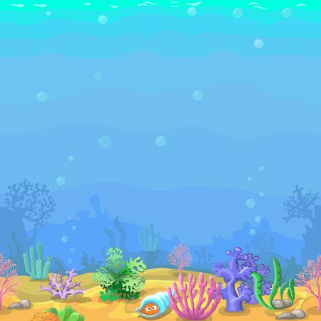 漫画のスタイルでシームレスな水中風景。サンゴとシェル。ゲーム デザインのイラスト