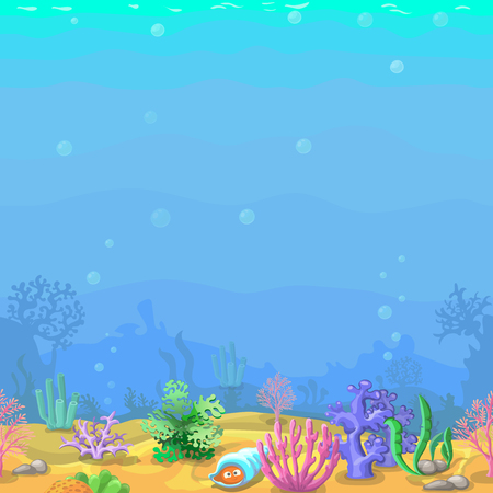 sea weeds: Seamless underwater landscape in cartoon style. coral and shell. illustration for game design