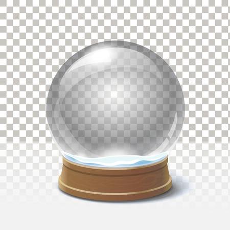 Christmas snow globe on checkered background. Magic ball Vectores
